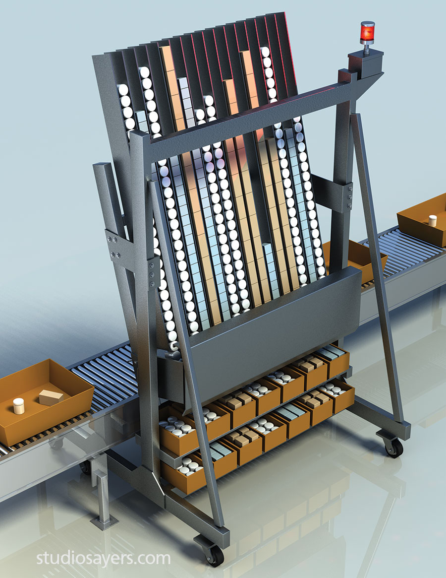 Mobile A-Frame warehouse fulfillment system illustration