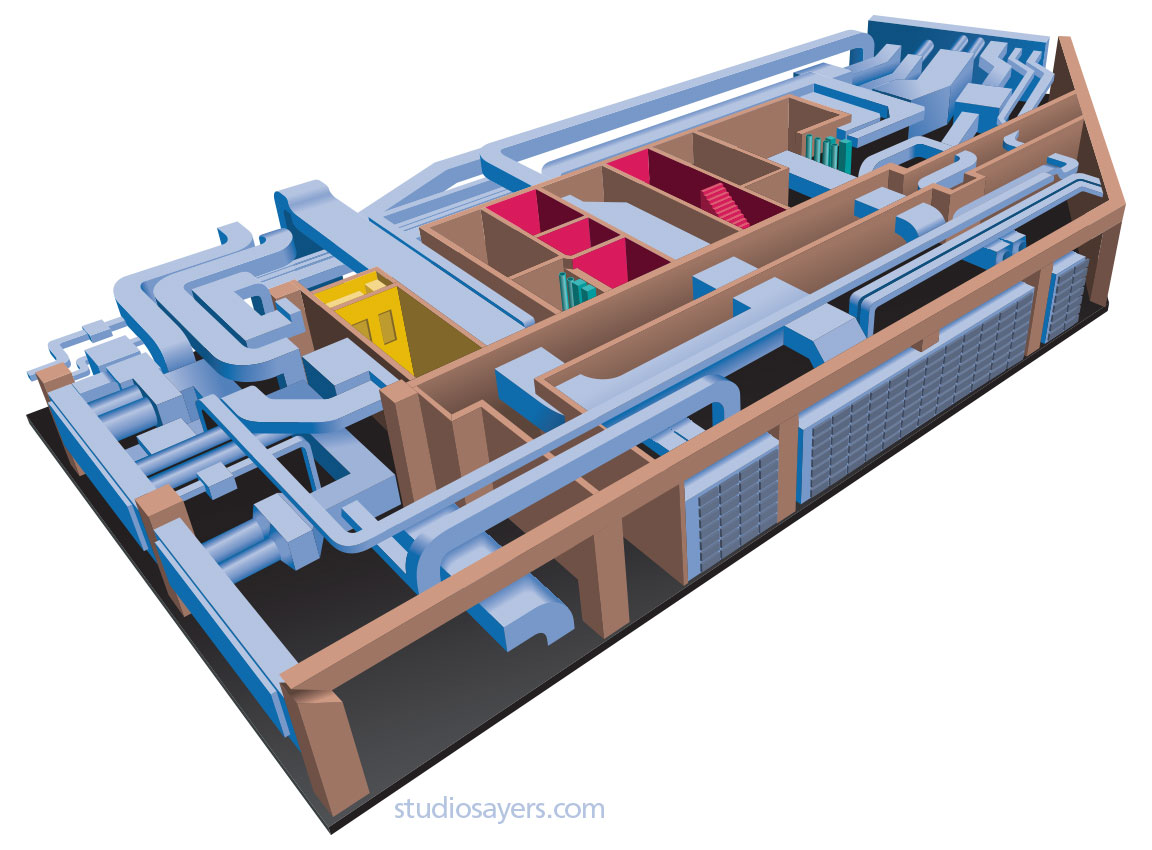 mechanical room cutaway illustration