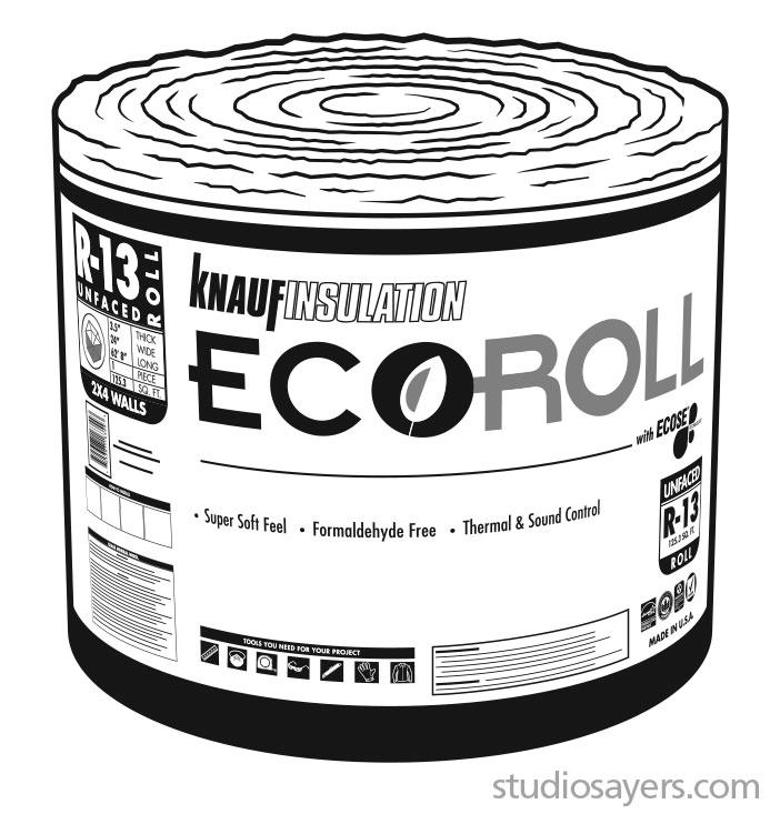 knauf insulation ecoroll packaging illustration