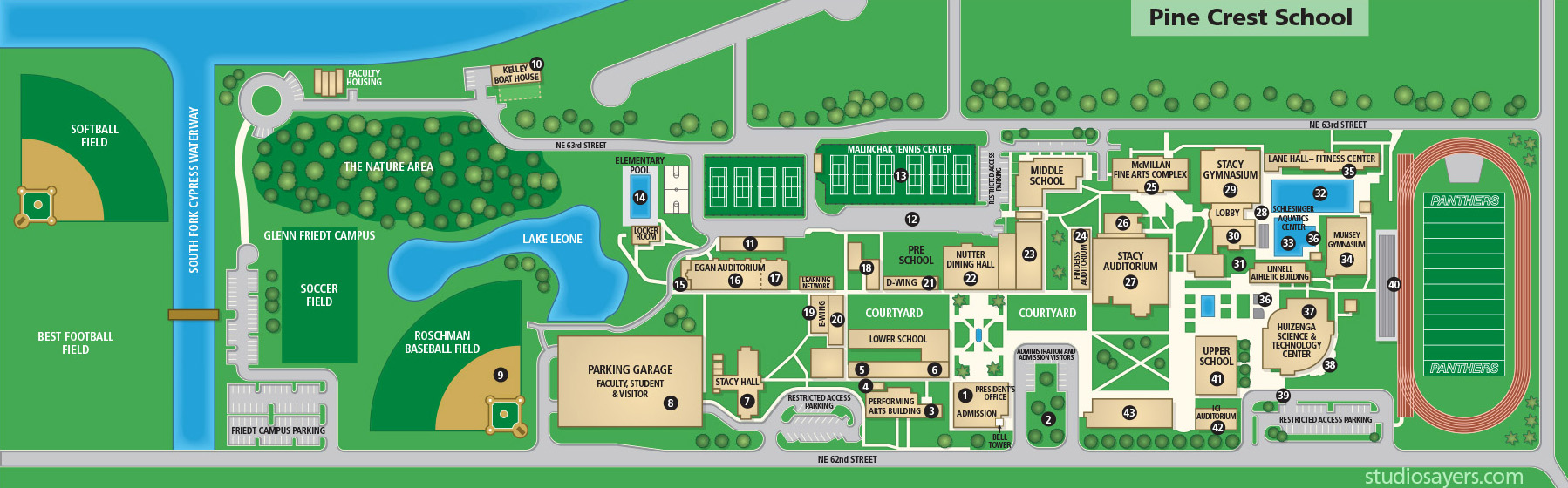 Pine Crest School visitors guide map