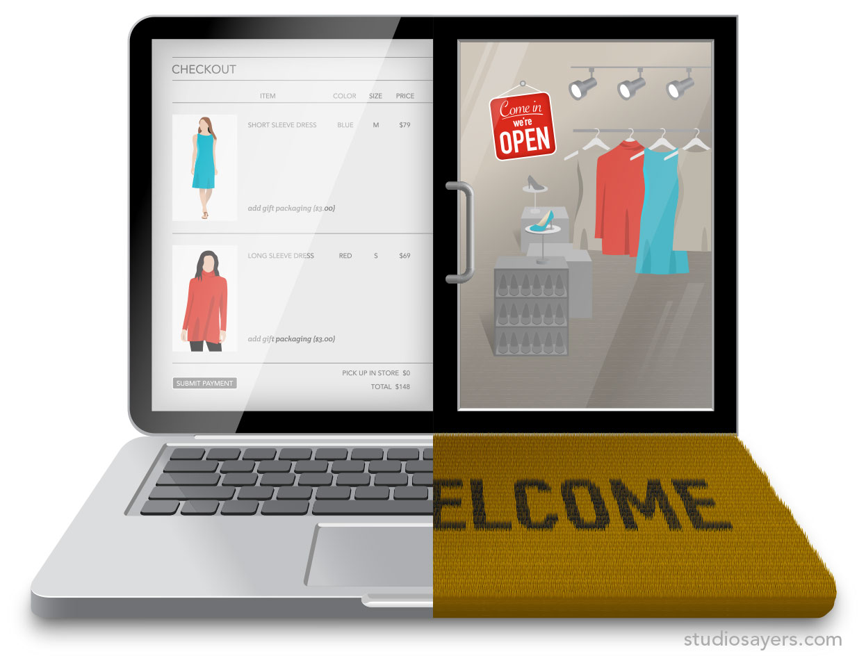 Unified Commerce laptop storefront welcome mat
