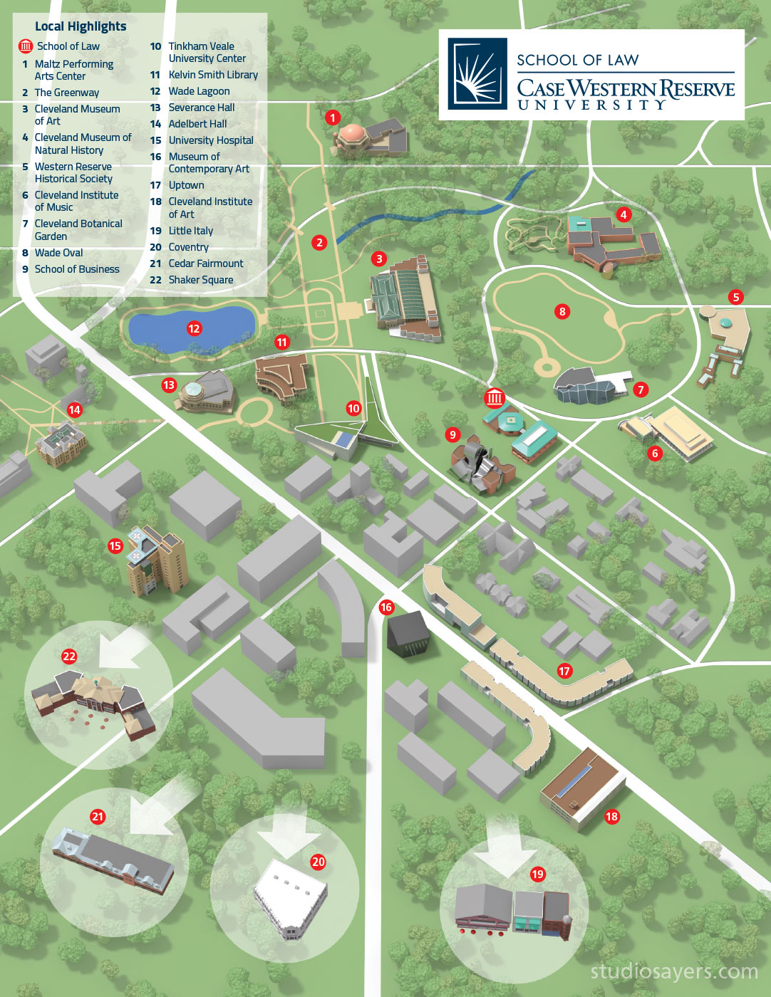 Case Western Campus Map Case Western Reserve University Map   StudioSayers