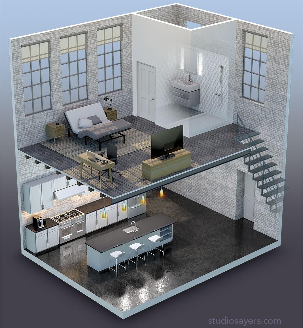 3D cutaway of modern loft residence