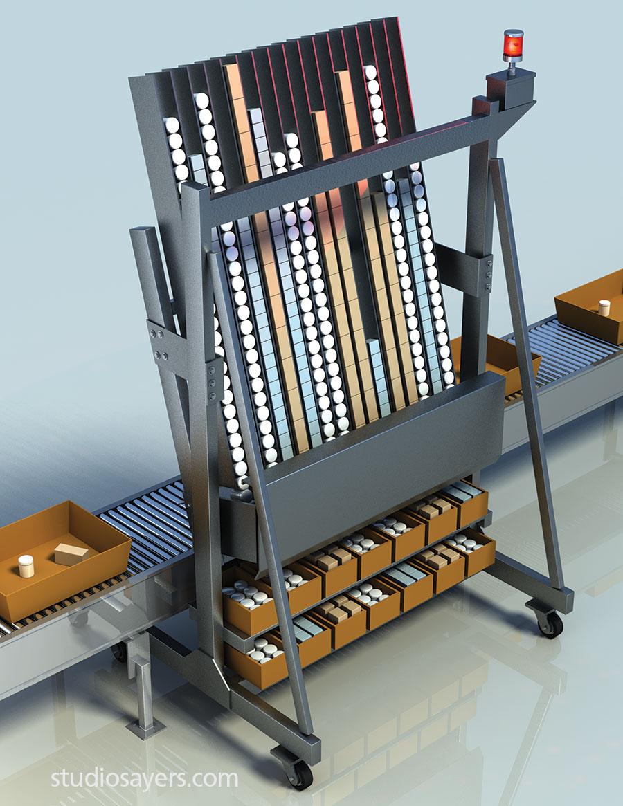 Mobile A-Frame warehouse fulfillment system illustration