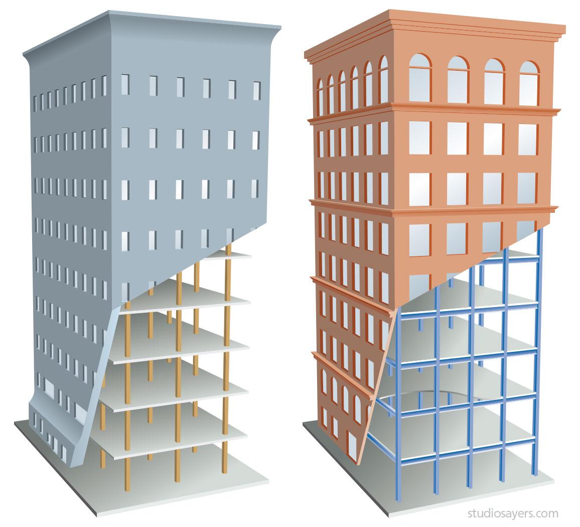 masonry vs. steel skyscraper construction