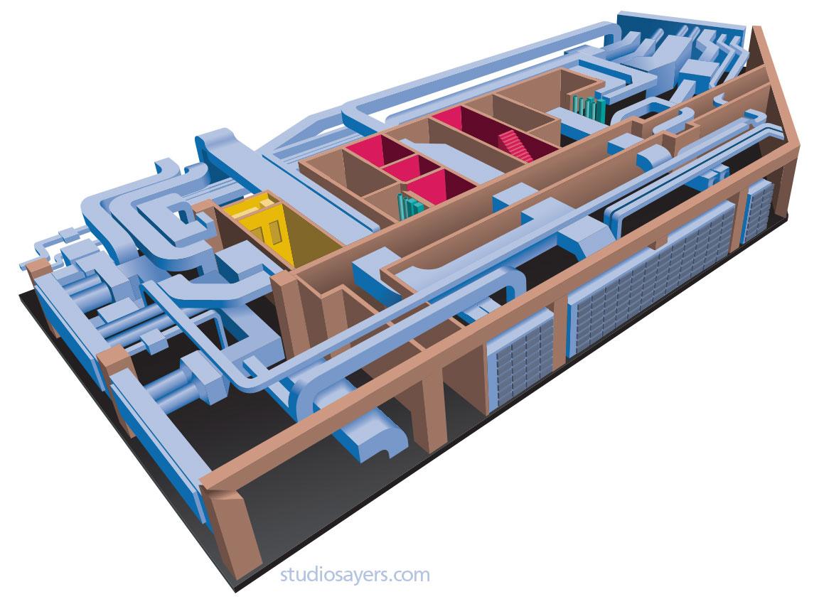 mechanical room cutaway illustration