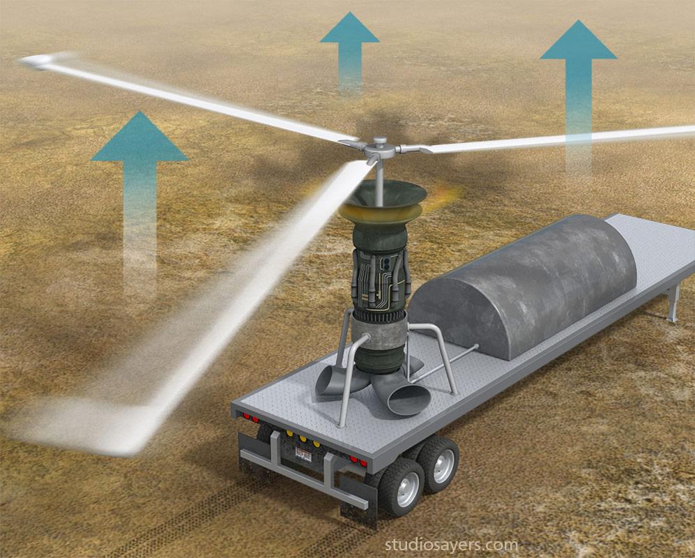 jet turboshaft atmospheric inversion 3d illustration