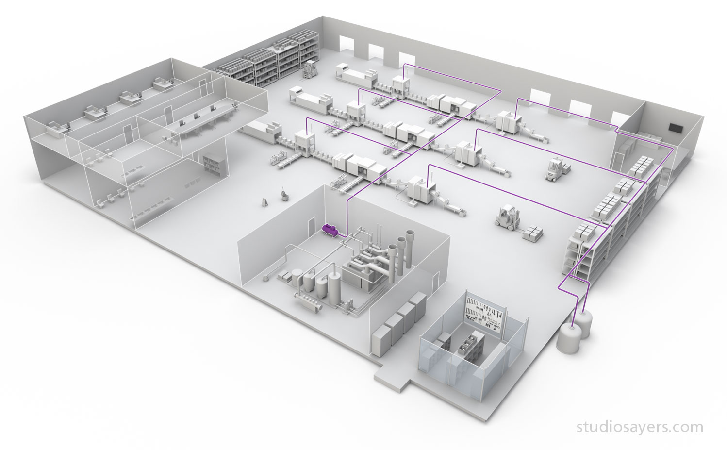 Factory with Industrial Piping