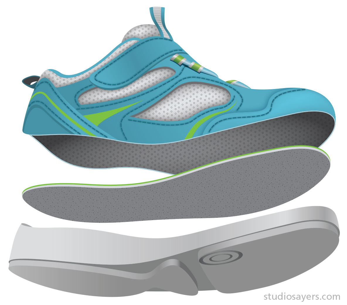 Kids outsole concept exploded illustration