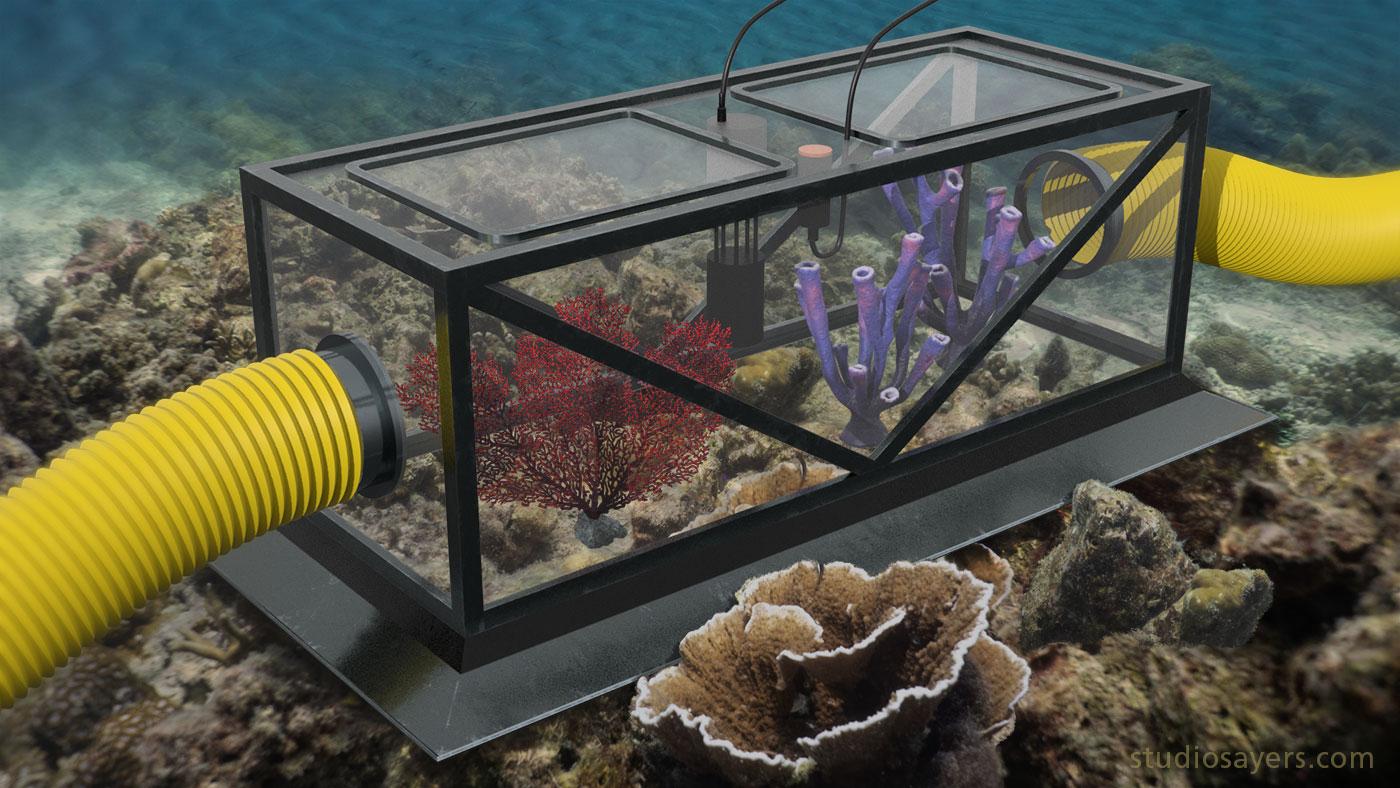 3D rendering of FOCE chamber used for marine acidification research