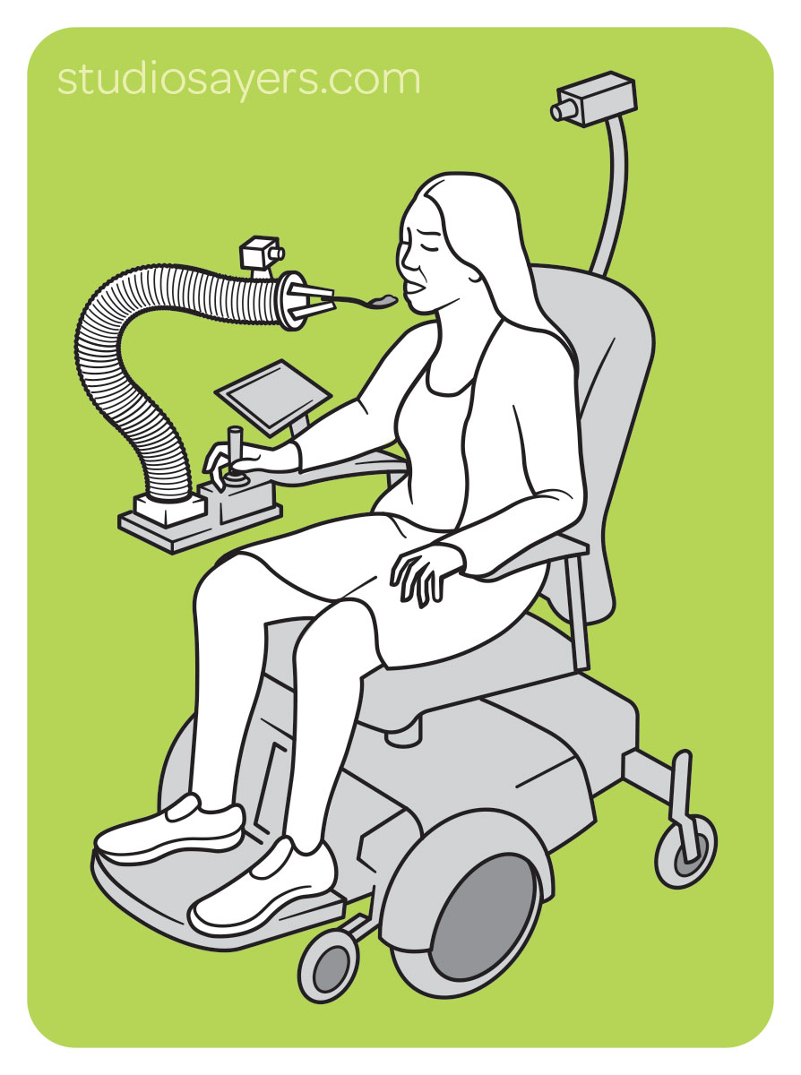 Line drawing of a woman in a motorized wheelchair using the robot tentacle to eat.