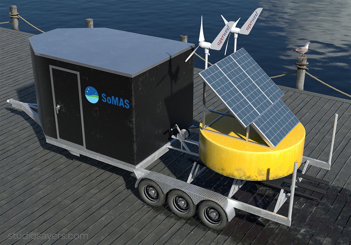 3d illustration of a power and communications buoy with trailer